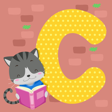 Alphabet Illustration Featuring a Cute Cat Reading a Book Standing Beside a Tile of the Letter C