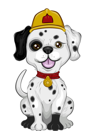 Mascot Illustration Featuring a Cute Little Dalmatian Wearing a Fireman Hat