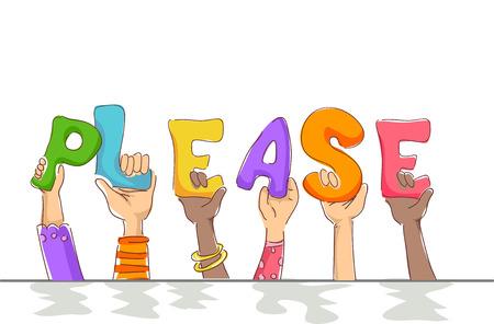 Illustration de typographie mettant en vedette de petits enfants brandissant des lettres qui épellent le mot s'il vous plaît Banque d'images - 78539475