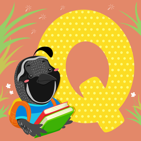 bookworm: Alphabet Illustration Featuring a Quail Reading a Book Sitting Beside a Tile of the Letter Q