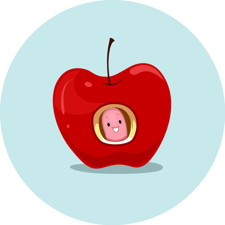 Illustration Featuring an Earthworm and an Apple Demonstrating the Meaning of the Word Inside Stock Photo