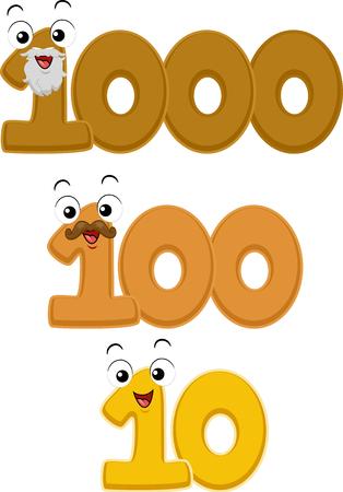 Mascot Illustration Featuring Representations of a Decade, Century, and Millennium
