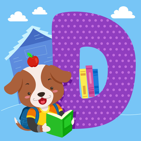 bookworm: Alphabet Illustration Featuring a Cute Dog Reading a Book Standing Beside a Tile of the Letter D