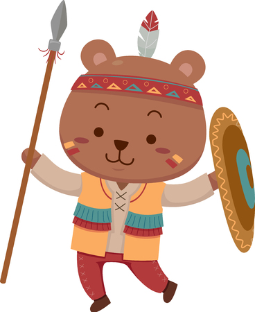 anthropomorphism: Mascot Illustration Featuring a Cute Little Brown Bear Dressed Like a Native American