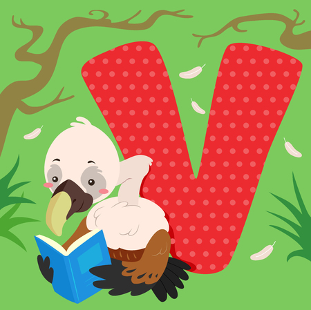 Alphabet Illustration Featuring a Vulture Reading a Book Sitting Beside a Tile of the Letter V Stock Photo