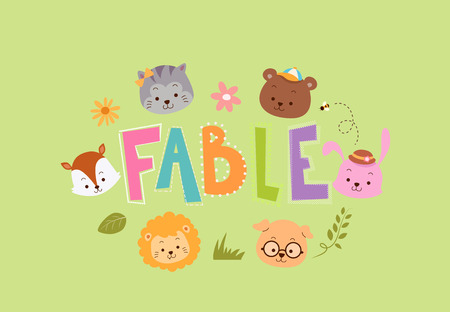 Typography Illustration Featuring Animals That Frequently Appear on Fables