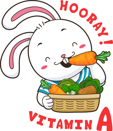 Mascot Illustration Featuring a Cute Little Rabbit Munching on Fresh Carrots