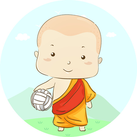 Illustration Featuring a Little Boy Dressed as a Monk Carrying a Volleyball