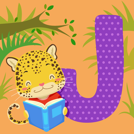Alphabet Illustration Featuring a Jaguar Reading a Book Standing Beside a Tile of the Letter J