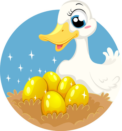 fable: Storybook Illustration Featuring the Classic Fable of The Goose Who Laid Golden Eggs Stock Photo