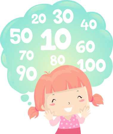 Illustration Featuring a Cute Little Girl in Pigtails Counting Numbers by Tens