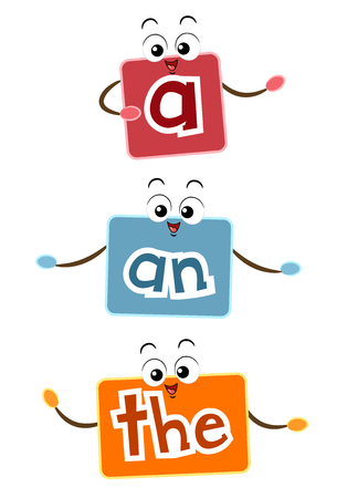 esl: Mascot Illustration Featuring Flash Cards Representing Examples of Articles