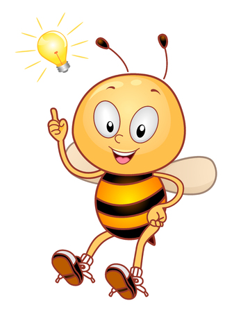 Mascot Illustration Featuring a Cute Little Honeybee Pointing to the Light Bulb Hovering Over His Head