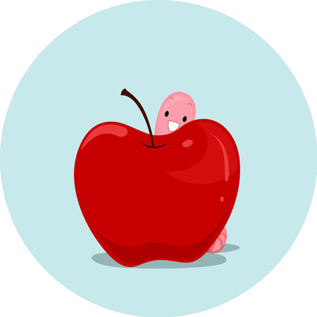 esl: Illustration Featuring an Earthworm and an Apple Demonstrating the Meaning of the Word Behind Stock Photo