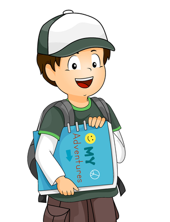 Illustration Featuring a Little Boy Wearing a Shirt, Pair of Cargo Shorts, and a Baseball Cap Carrying an Adventure Book