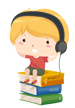 Illustratie met een kleine jongen Luisteren naar een audioboek zittend op een stapel boeken Stockfoto