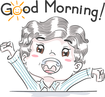 esl: Typography Illustration Featuring a Cute Little Boy Saying Good Morning Stock Photo