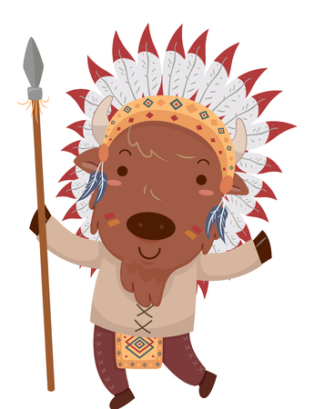 Mascot Illustration Featuring a Cute Little Bison Dressed Like a Native American