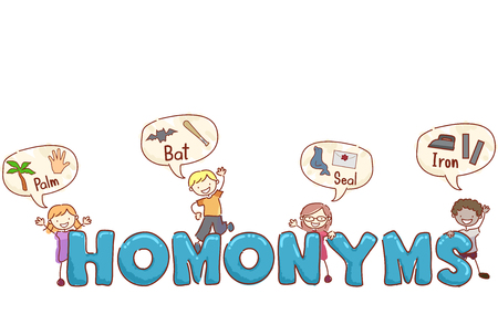 Stickman Illustration of Preschool Kids Giving Examples of Popular Homonyms Stock Photo