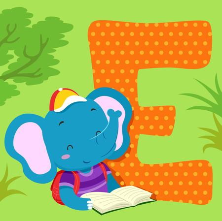 Alphabet Illustration Featuring an Elephant Reading a Book Standing Beside a Tile of the Letter E