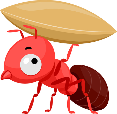 Mascot Illustration Featuring a Cute Little Red Ant Carrying a Small Grain Stock Photo