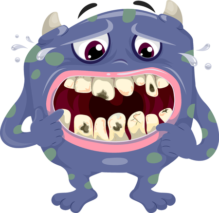 Illustration Featuring a Distressed Blue Monster Worrying Over the Cavities on His Teeth Stock Photo