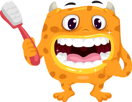 dientes sanos: Illustration Featuring a Cute Yellow Monster Holding a Toothbrush Showing His Healthy Teeth