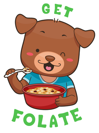 Mascot Illustration Featuring a Cute Little Dog Snacking on a Bowl of Whole Grain Cereal Stock Photo