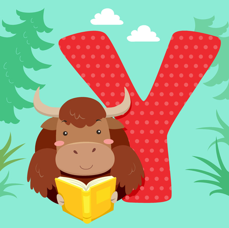 storybook: Alphabet Illustration Featuring a Yak Reading a Book Sitting Beside a Tile of the Letter Y