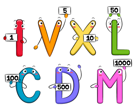 numerical value: Colorful Mascot Illustration Featuring Roman Numerals Holding Cards Representing Their Numerical Value Stock Photo