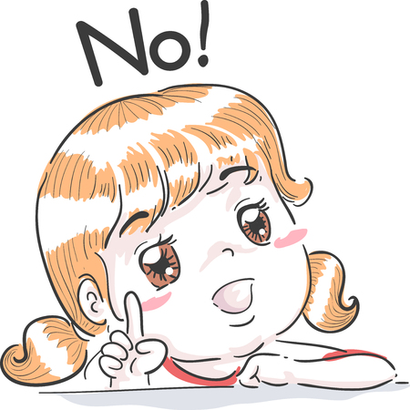 esl: Typography Illustration Featuring a Cute Little Girl Wagging Her Finger While Saying No
