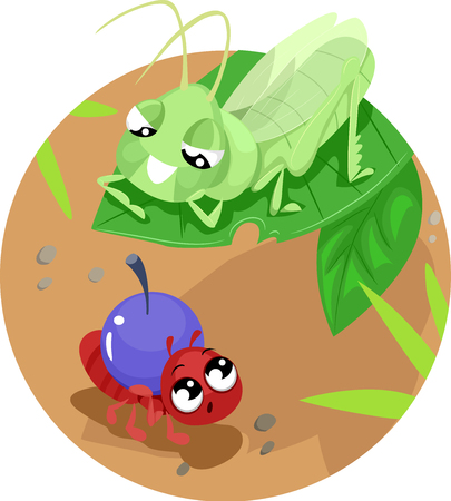 Storybook Illustration Featuring the Classic Fable of The Ant and the Grasshopper