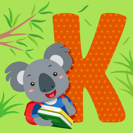 Alphabet Illustration Featuring a Koala Carrying a Stack of Books Standing Beside a Tile of the Letter K