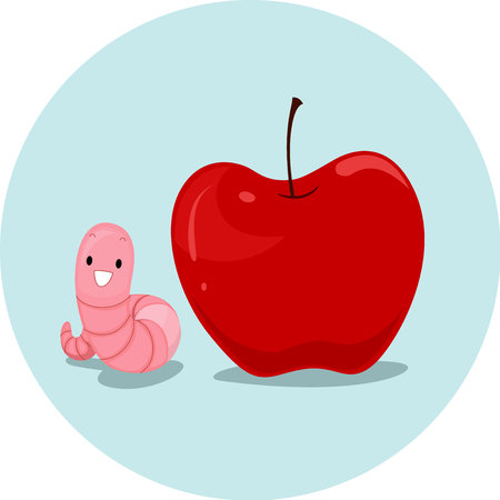 Illustration Featuring an Earthworm and an Apple Demonstrating the Meaning of the Word Next To