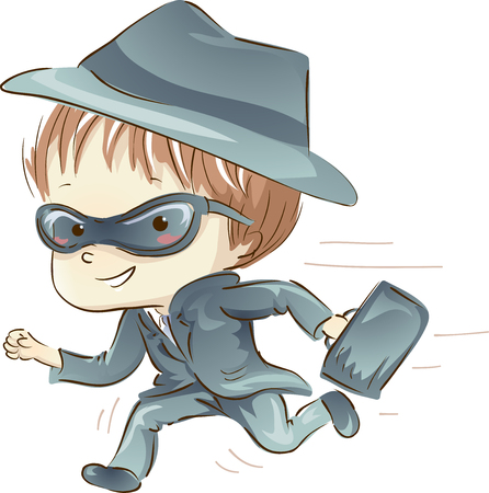 Illustration Featuring a Little Boy in a Spy Costume Running While Carrying a Briefcase Фото со стока - 78539673