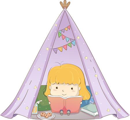 기상 천막 안에 책을 읽고 귀여운 소녀를 갖춘 그림을주는 글 래핑