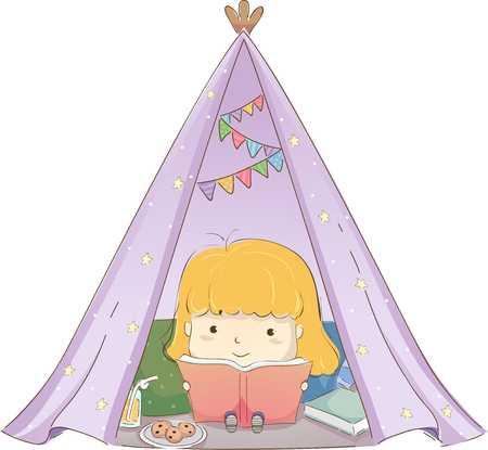 Glamping Illustration Featuring a Cute Little Girl Reading a Book Inside a Makeshift Tent