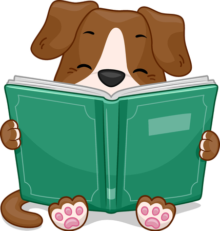 reading a book: Mascot Illustration Featuring a Cute Little Dog Happily Reading a Storybook