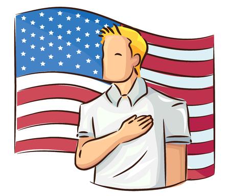 Illustrazione di un uomo con mano sopra il cuore di fronte a una bandiera americana che mostra il rispetto Archivio Fotografico - 80162597