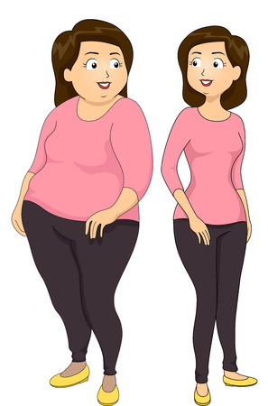 Illustration of a Girl Showing Weightloss Using a Before and After Comparison Stock Photo