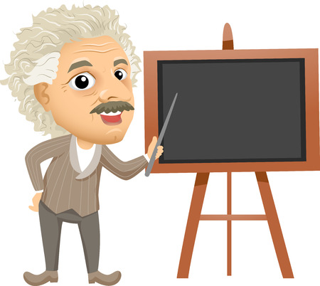 Illustration of Einstein holding a Stick Pointing to a Black Blackboard