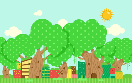 Illustration of Cute and Colorful Buildings Among Huge Trees with Dotted Leaves