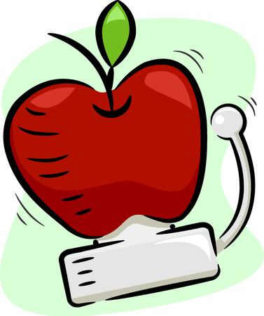Illustration of a Ringing School Bell Made of a Red Apple Signalling a Healthy Lunch Break