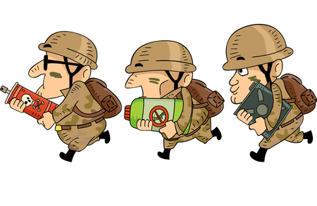 Illustration of Men in Soldier Uniform Running and Carrying Pesticides