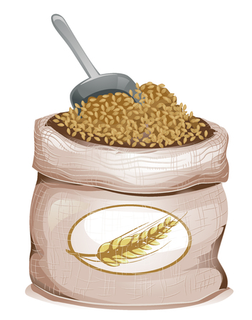 Illustration of a Sack Bag Full of Hulled Barley Grains and a Grain Scoop