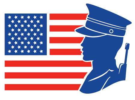 Red, White and Blue Stencil Illustration of a Male American Soldier in front of a US Flag