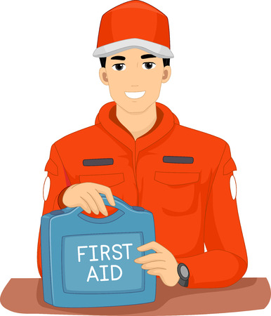 contingency: Illustration of a Man from an Emergency Response Team in Uniform holding a First Aid Kit Stock Photo