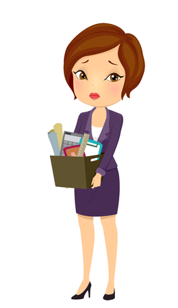 Illustration of a Girl in Business Suit carrying a Box of Office Tools and Supplies Фото со стока