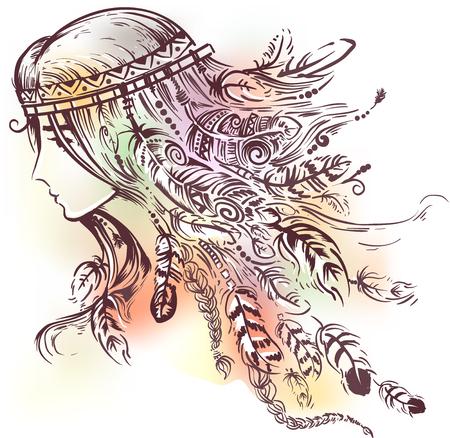 깃털로 만든 머리띠를 쓰고있는 아메리카 인디언 인도 소녀의 그림 스톡 콘텐츠