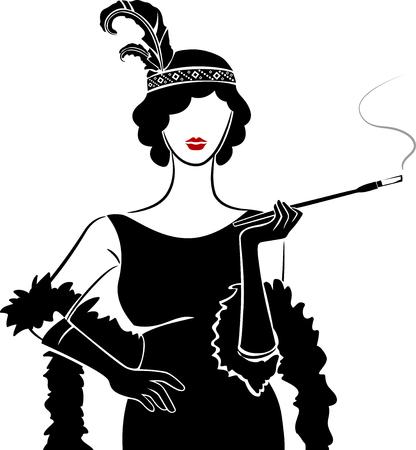 Illustration d'une Girl Posing Wearing Flapper Costume et de fumer à l'aide d'un long détenteur de cigarette Banque d'images - 80162619